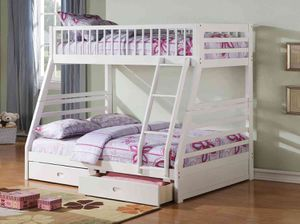 Twin/Full Bunk Bed AND Drawers - 37040 - White OREG for Sale in Pomona, CA