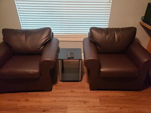 Like New Brown Faux Leather Chairs - 2 Chairs for Sale in Spanaway, WA