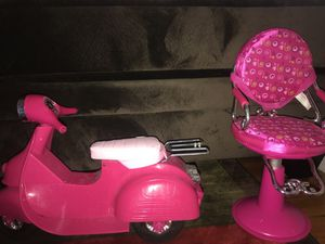 American girl doll scooter and hair chair. for Sale in Columbus, OH