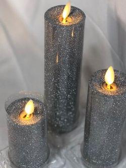 Set of 3 Flameless Slim Glitter Pillars for Sale in Pompano Beach,  FL