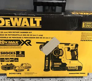 DEWALT 20-Volt MAX XR Li-Ion 1 in. Cordless SDS-plus Brushless L-Shape Concrete/Masonry Rotary Hammer with (2) Batteries 5Ah for Sale in Lemont, IL