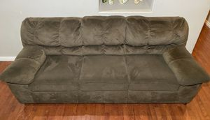 Wanek Furn. Dark Brown Textured Microfiber 3-Seat Couch w/ Padded Arms for Sale in West Linn, OR