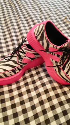 Size 9 Hot Pink/Zebra Platform Creepers by Demonia for Sale in Renton, WA