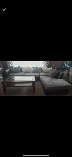 Gray And Black Sectional Couch /wood Coffee Table Combo for Sale in Roseville,  MI