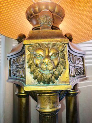 Roman pillar style lions head floor lamp for Sale in Oakley, CA