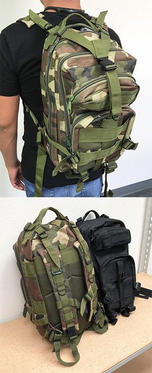 New $15 each 30L Outdoor Military Tactical Backpack Camping Hiking Trekking (Black/Camouflage) for Sale in Whittier, CA