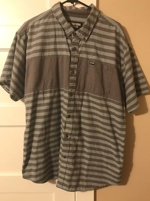 ***ZOOYORK MEN'S STRIPPED SHORT SLEEVE BUTTON UP SIZE XXL- GREEN/GREY*** for Sale in Portland, OR