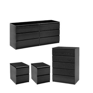4 Piece Set with 6 Drawer Dresser 5 Drawer Chest and Two Nightstands in Black Woodgrain for Sale in Sterling, VA