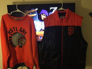 Orange hustle gang sweater size 3x this is TI clothing line and San Francisco giants vest jacket size 4x paid 140 for both but you can buy for 75 fo for Sale in Sacramento, CA