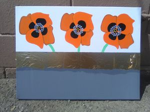 Acrylic painting orange poppy flowers with grey background and gold leaf on 18x24x0.5 inch canvas for Sale in Albuquerque, NM