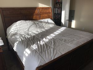 King Asian Style Wood Bed and 2 Nightstands for Sale in Austin, TX