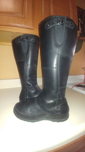 Women's black leather calf-high North Face boots for Sale in Boston, MA