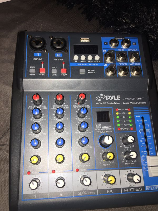 Pyle Professional Audio Mixer Sound Board Console System Interface 4 Channel Digital USB Bluetooth MP3 Computer Input 48V Phantom Power Stereo DJ Stu