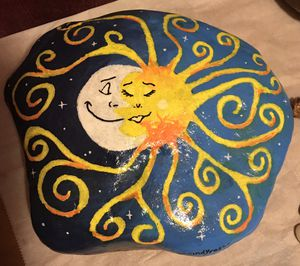 Sun and Moon Hand Painted Rock for Sale in Lakeland, FL