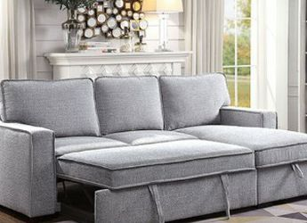 NEW ‼️🎊🎉 Gray Sectional w/Pull-out Sleeper & Reversible Chaise w/Storage • Delivery • Assembly • FREE 💥 Financing ‼️Same as cash for Sale in Las Vegas,  NV