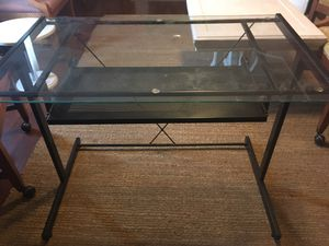 Desk glass top with matching rolling cart for Sale in Fresno, CA