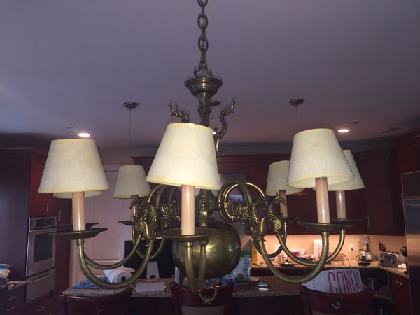 Awesome 8-light custom brass chandelier from Mill House Antiques