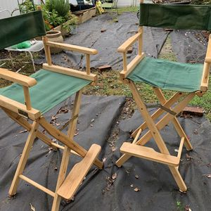 Two Tall bar height canvas / oak Directors chairs for Sale in Oceanport, NJ