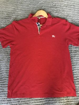 Burberry red collared shirt for Sale in Tampa, FL