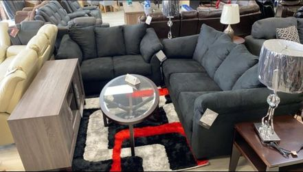 Ashley Darcy Black New Sofa & Loveseat Couch Livingroom set N0 credit check 🚚same day delivery🧿SRH for Sale in Houston,  TX