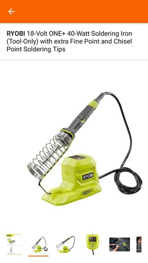 RYOBI 18-Volt ONE+ 40-Watt Soldering Iron (Tool-Only) with extra Fine Point and Chisel Point Soldering Tips for Sale in Miami, FL