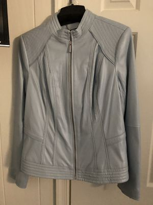 GiLi - Got It Love It- Sky Blue Leather Jacket size 14 - New with protective bag for Sale in Silver Spring, MD