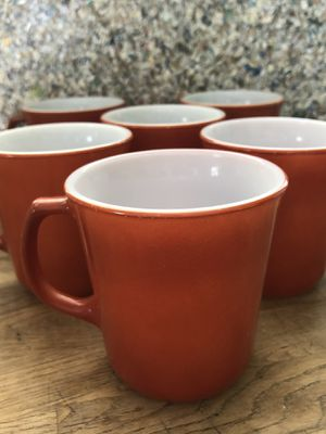 Unique set of six burnt orange D handle vintage mugs two Pyrex two Corelle two Corning identical! Cool set! for Sale in Phoenix, AZ