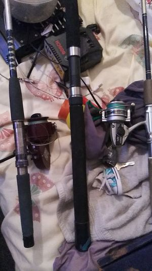 Three 8 ft fishing rods 2 with reels and string for Sale in ROWLAND HGHTS, CA