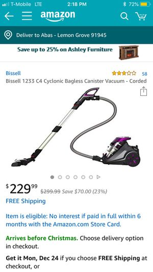 Bissell 1243 cyclonic bagless canister vacuum for Sale in Lemon Grove, CA