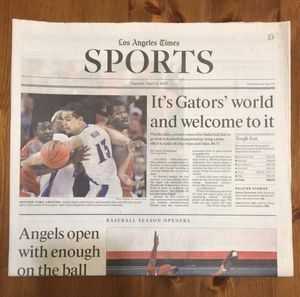 (1 COPY) LOS ANGELES TIMES: FLORIDA GATORS ARE 2007 NCAA BASKETBALL CHAMPIONS for Sale in Compton, CA