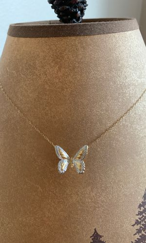 Gold chain gold and silver butterfly necklace for Sale in Golden, CO
