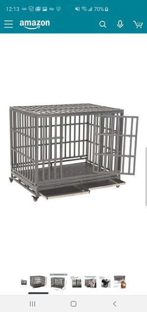SMONTER Heavy Duty Dog Crate Strong Metal Pet Kennel Playpen with Two Prevent Escape Lock, Large Dogs Cage with Wheel for Sale in Seven Hills, OH