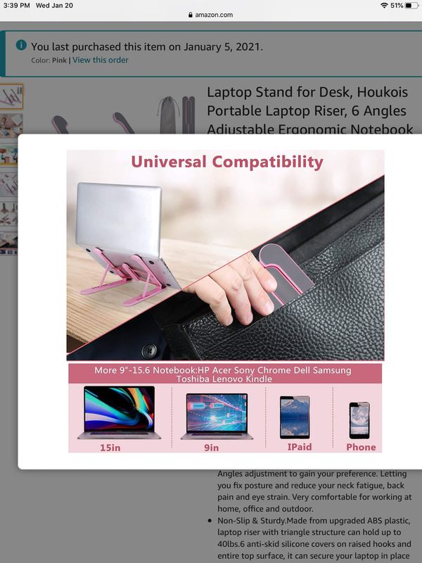 Laptop Stand for Desk, Houkois Portable Laptop Riser, 6 Angles Adjustable Ergonomic Notebook Holder with MacBook, Dell, HP, Acer, Lenovo up to 10-15.6
