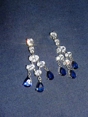 Sterling silver, diamond/sapphire earrings for Sale in Portland, OR