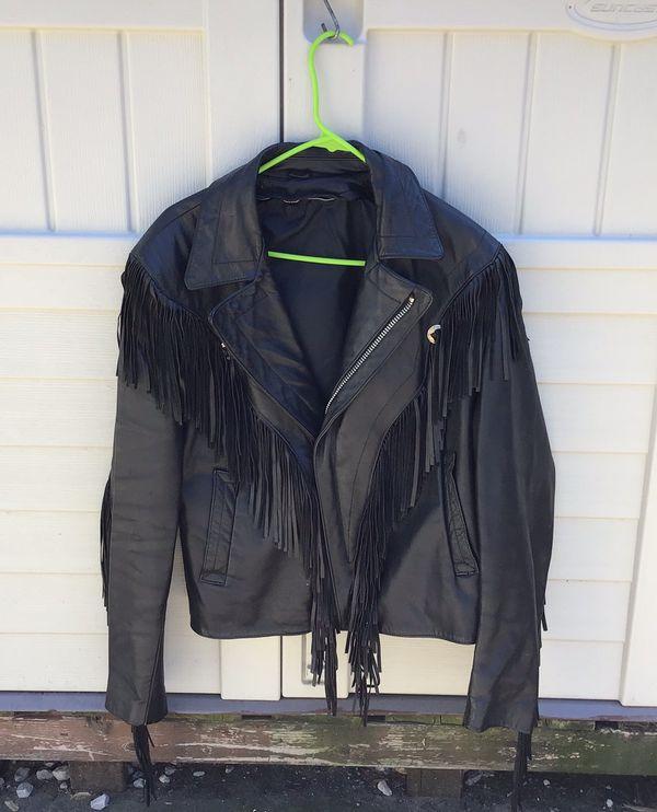 Ladies leather fringe jacket, size L