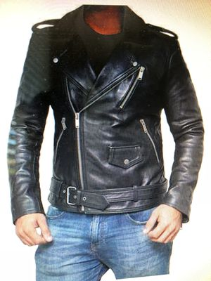 Black leather jacket mens stylish for Sale in Chantilly, VA