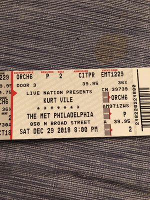 12/29 Kurt Vile @ the Met in Philly (Orch6 Row P Seats 1&2) for Sale in Philadelphia, PA