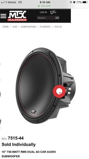MTX 7515-44 SUBWOOFERS (2) With Ported Box Included for Sale in San Leandro, CA