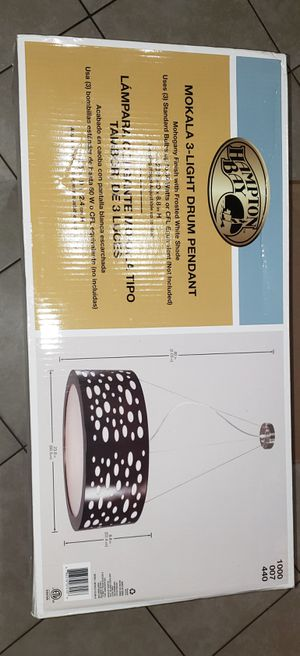 Mokala 3-Light Satin Nickel Accents Drum Pendant for Sale in North Las Vegas, NV