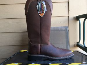 NEW MEN'S JUSTIN ORIGINAL STAMPEDE 17' SQUARE TOE STEEL TOE WATERPROOF LEATHER WORK BOOTS Sz 13 for Sale in The Colony, TX