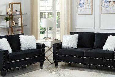 Super Black Sofa and Loveseat S555 VENDOR NEW ERA for Sale in Houston,  TX