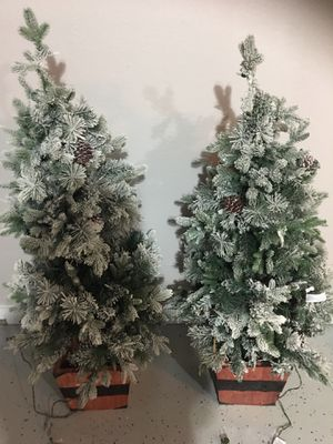 2 Christmas trees with lights and snow for Sale in Bedford, TX