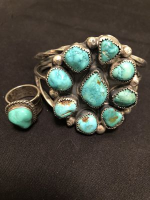 Large turquoise and sterling silver cuff bracelet and ring size 6 true Navajo set for Sale in Pueblo West, CO