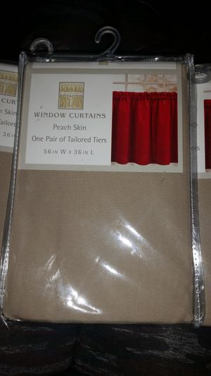 6 Window Curtains One pair tailored tiers peach skin tan 56 x 36 for Sale in Chandler, AZ