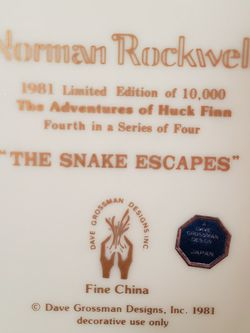 "Norman Rockwell Decorative Plate ""The Snake Escapes"" for Sale in Southampton,  PA"