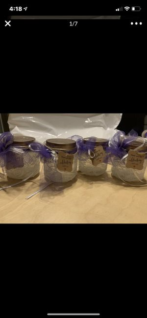 4 Oz vintage rustic rose gold glass ivory white lace jars wedding decorations for Sale in Commerce City, CO