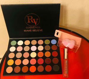 RV cosmetic MAKE BELIEV. Eyeshadow Palette, Lip Gloss and Beauty Sponge for Sale in Belleville, IL