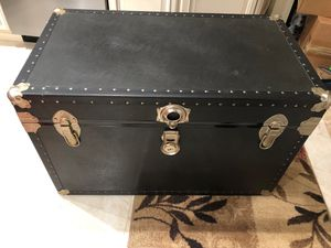 Vintage black leather trunk for Sale in Clifton, VA