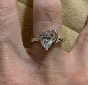 New CZ heart sterling silver wedding ring size 7 for Sale in Inverness, IL