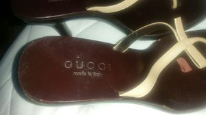 GUCCI women's brown leather high heels sandals size 37.5 for Sale in Arlington, VA